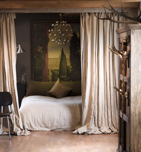 "Small Studio Apartment Big Ideas"" Use drapes to separate bed from rest of apartment"