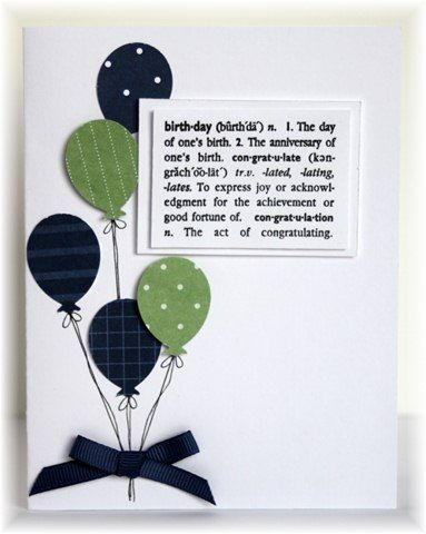 handmade birthday card ... balloons and a definition ... clean lines ... like those punched balloons (Martha Stewart) ...