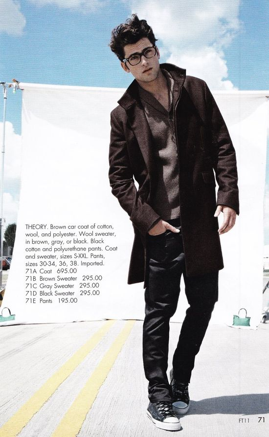 Coat, Jeans, Shoes, Glasses.