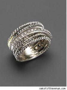 David Yurman Diamond Crossover Ring.