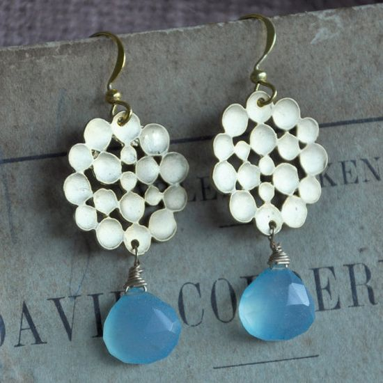 Blue Chalcedony Gemstone Earrings with Gold by SashaGems