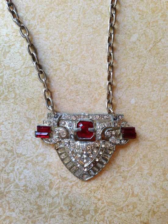 Red rhinestone brooch necklace with FREE by JNPVintageJewelry, $125.00