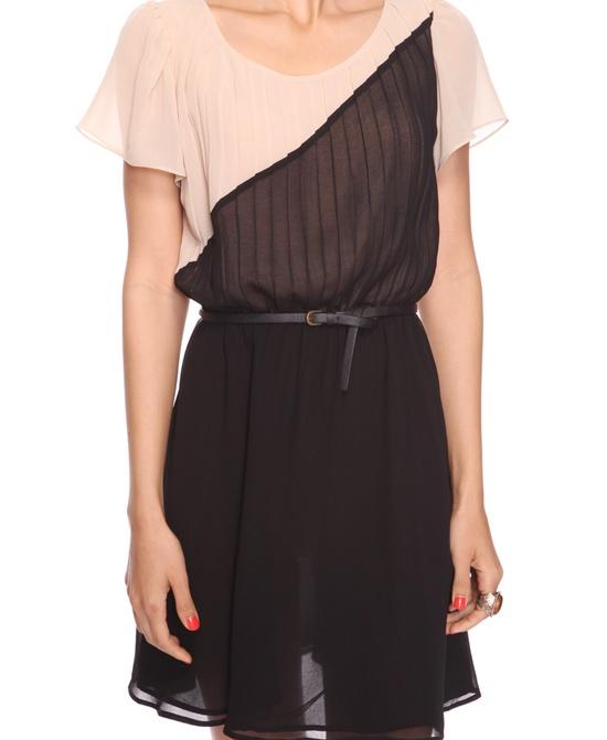 #dress #colorblock #pink #nude #black #geometric #sheer #pleated #belted #belt