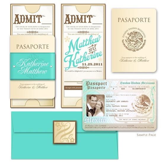 Vintage Passport Style Invitation