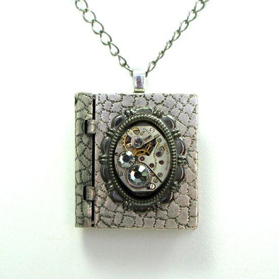 Steampunk Box Locket OOAK Necklace Vintage Watch by mysticpieces, $72.00