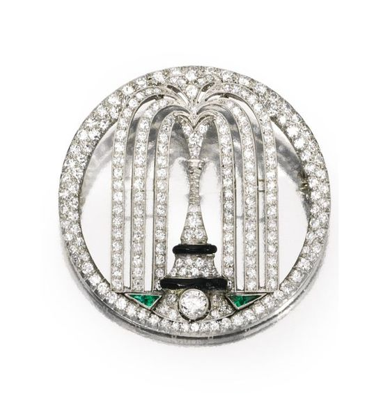 Platinum, Diamond, Emerald and Enamel Brooch, Cartier, Circa 1925