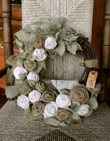 Perfect for an elegant monochrome/taupe Christmas theme. Primitive Burlap Wreath SAGE vintage white and by tinkerscottage, $35.00