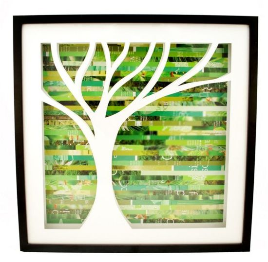 Cut-out tree with magazine strip background