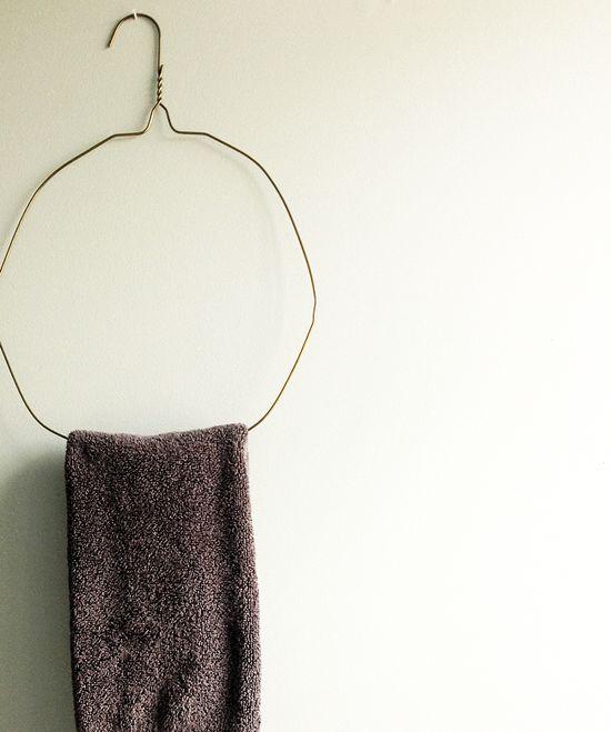 Turn hangers into towel racks!