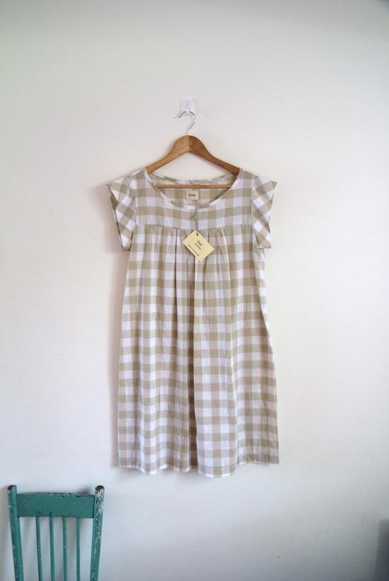 Cotton gingham cap wing sleeve shift dress / tunic.. $90.00, via Etsy.