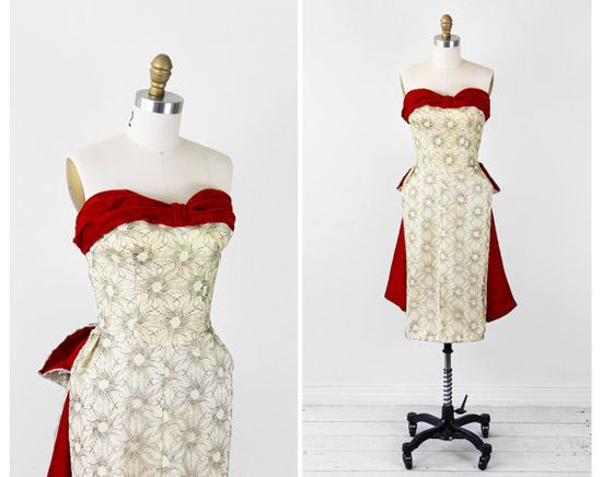 vintage 1950s dress / 50s dress / Silver and Gold Lace Strapless Gown with Red Velvet Bustle and Train