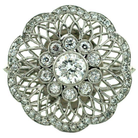 Handmade Art Deco diamond ring, circa 1930's.