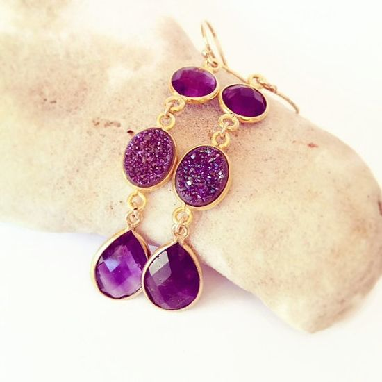 Long Purple Amethyst Earrings, Amethyst Earrings, Purple Druzy Earrings, Long Elegant Stone Earrings, Purple Stone Earrings