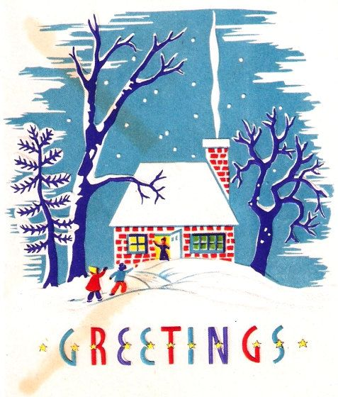 Snowy Cottage Vintage Christmas Card