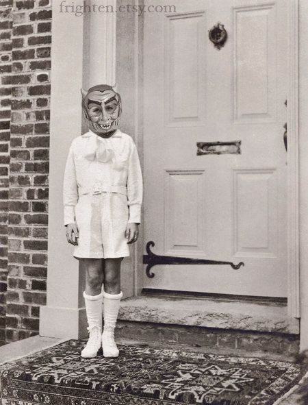 want to frame some of these fun pictures from frighten for Halloween  Devil Boy, Halloween Black and White Art Print, frighten, via Etsy.