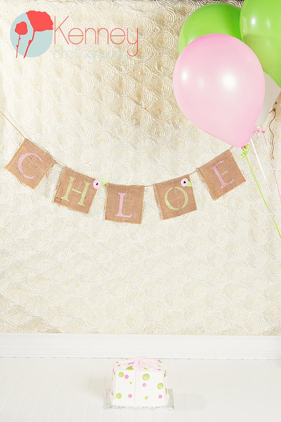 Cute Burlap Banner for birthdays and Photography props!! Photography by www.kenneyphoto.com