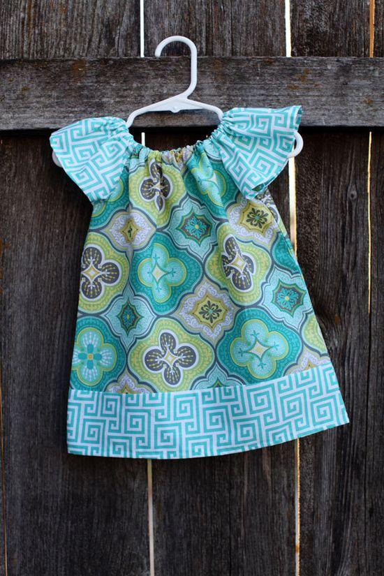 Gray Yellow Teal Medallion Print Peasant Dress - Baby Girl