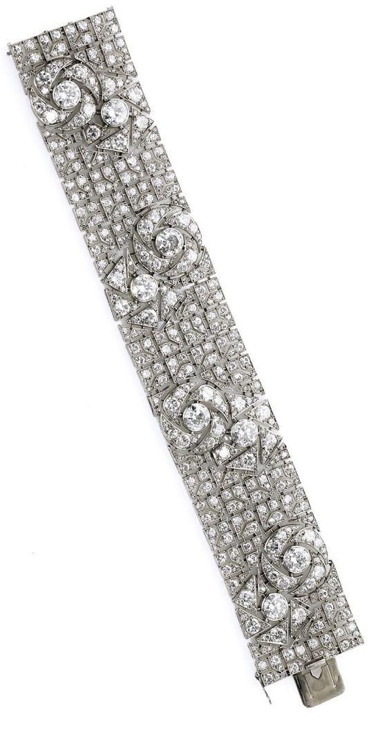 Art Deco diamond bracelet with pattern of stylized roses. By Boucheron, circa 1925. Via Diamonds in the Library.