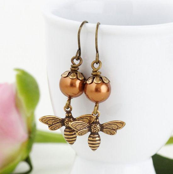 Pearl Honey Bee Earrings Bronze Pearl Earrings by JacarandaDesigns