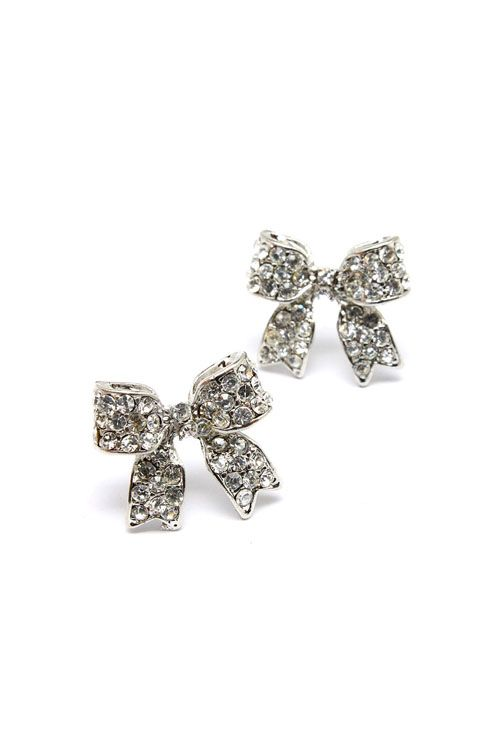 Crystal Bow Earrings in Silver