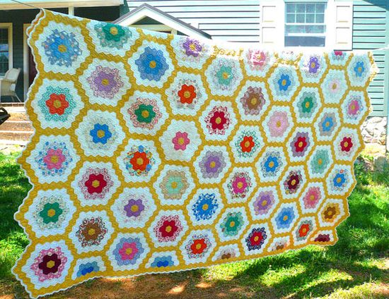 Vintage Handmade Quilt  Grandmother Flower by VintageReinvented