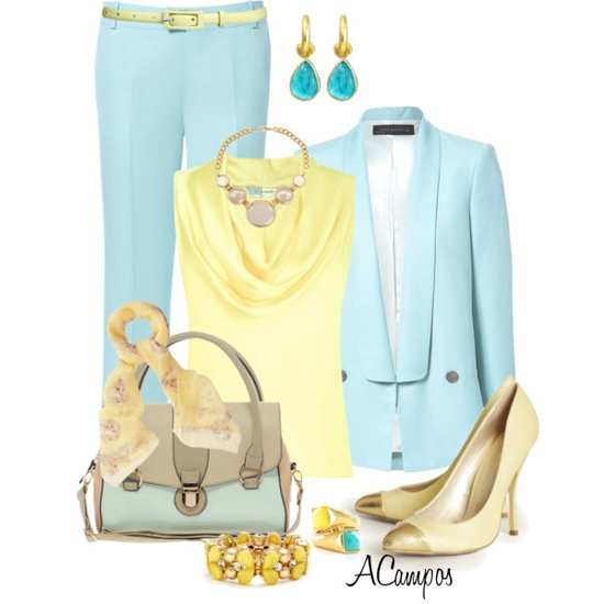 Pastel Aqua & Yellow by anna-campos on Polyvore