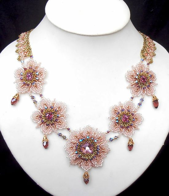 Beaded flowers in Light Pink purple green and gold by MiriamShimon, $165.00