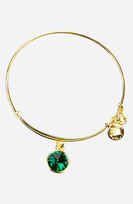 Birthstone bangle. May = Emerald