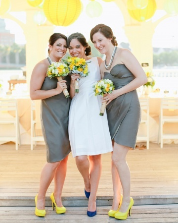 "Bridesmaids in Jenny Yoo ""Quinn"" dresses with Charlotte Russe heels and the bride in Alfred Sung"
