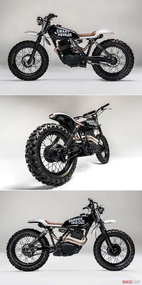 Los Muertos Motorcycles workshop. Meet 'Swart Gevaar,' a Honda XL500