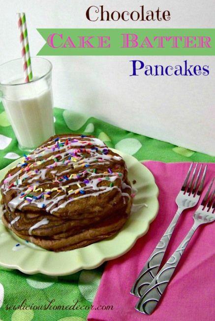 Chocolate Cake Batter Pancakes with icing!  #chocolate #cake #batter sewlicioushomedec...