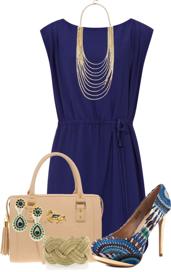 """Blue Dress"" by glamatarian ❤ liked on Polyvore"