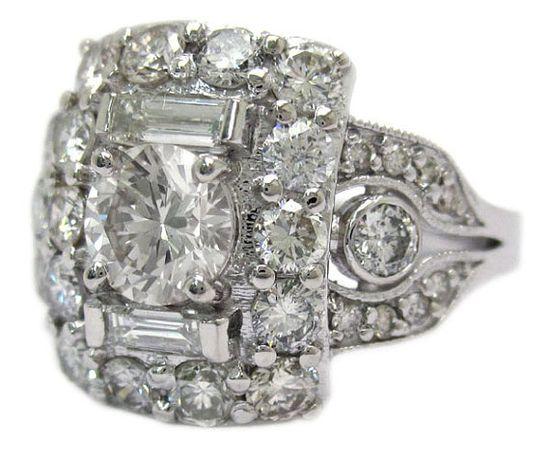 Crazy diamond art deco ring.