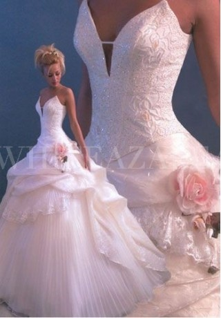 satin strapless v neck ball gown sexy wedding dress