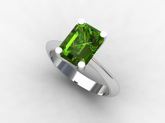 Emerald cut Peridot solitaire engagement ring by TorkkeliJewellery on Etsy, $1845.00