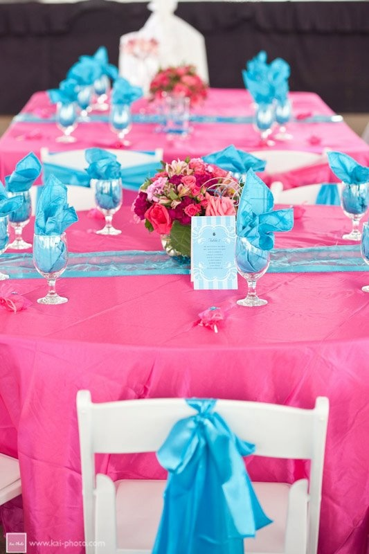 pink & blue wedding reception decor