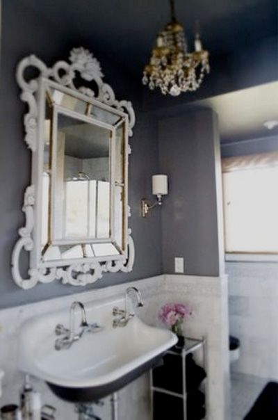 dark walls in bathroom #chandelier