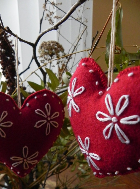 Felted Ornament- Red and White Heart. $18.00, via Etsy.