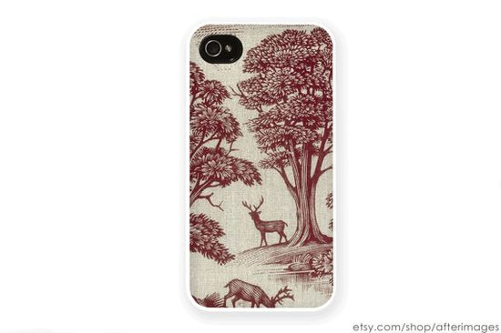 Deer iPhone Case / iPhone 4 Case iPhone 4S Case iPhone 5 Case iPhone 5s Case New Vintage Wallpaper Reindeer Holiday Christmas Silicone Case