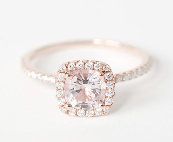 Certified Peach Pink Cushion Sapphire Diamond Halo Engagement Ring 14K Rose Gold. $1,390.00, via Etsy.