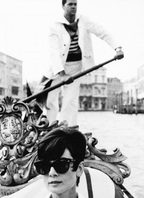 Audrey Hepburn in Venice, Italy.