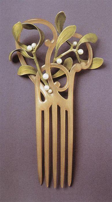 art nouveau mistletoe comb - 1900's