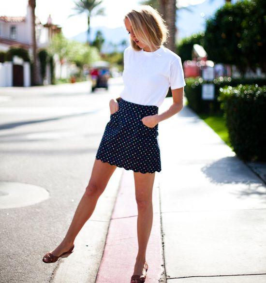 white t + polka dot skirt
