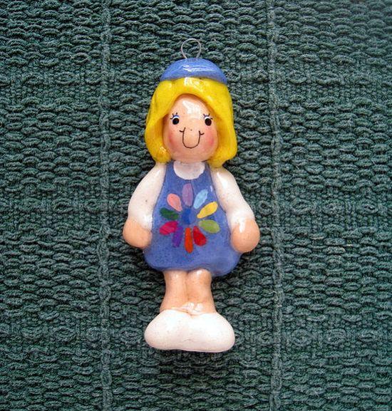 Daisy Scout ornament handmade bread dough by JudyCaron on Etsy, $16.95