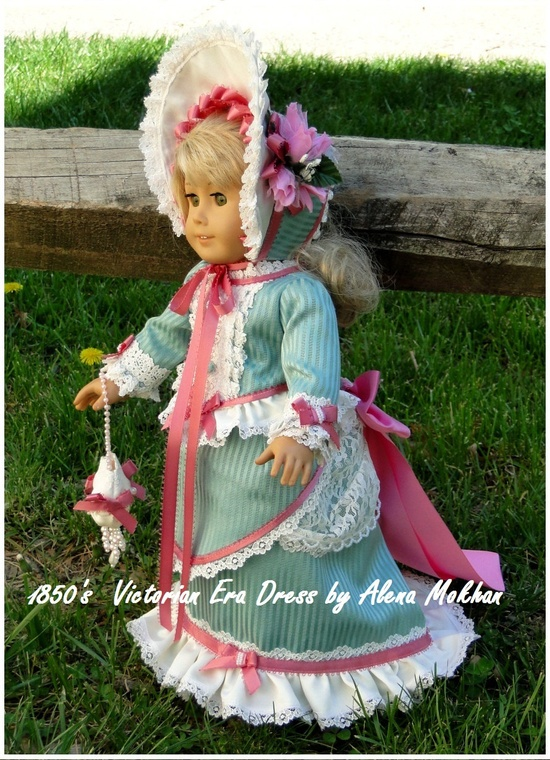 1850's  Victorian Era 6 PS Gown- Turquoise Ivory Magenta - fit American Girl Doll or other 18 inch doll