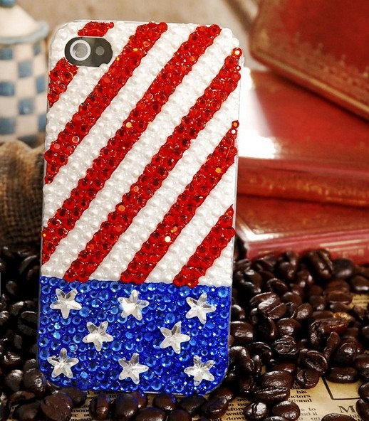 Custom iPhone 5 Case Glitter iPhone 4 Case white red Blue USA flag design Swarovski Crystals iphone case Sparking IpHONE 4S Case. $28.50, via Etsy.
