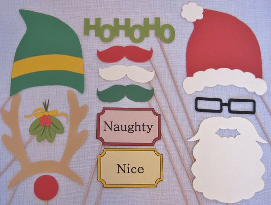 PDF - Christmas photo booth props/decorations/craft - printable DIY. $3.95, via Etsy.