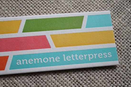 lovely business card from anemone letterpress - 5 colors!