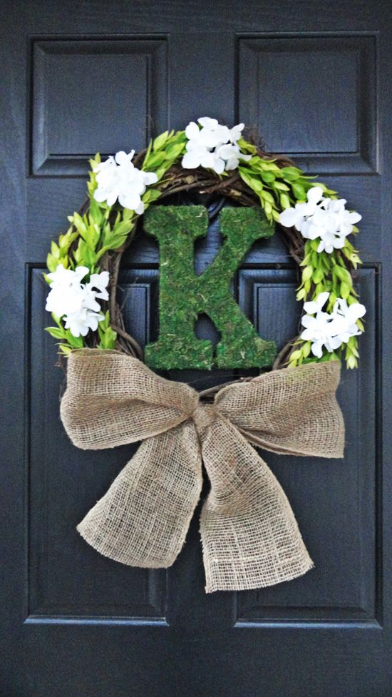 Rustic and Natural Wedding Wreath, Spring Wreath, Summer Wreath, Mother's Day wreath, Gift for Her With Moss Monogram and Hydrangea. $49.00, via Etsy.