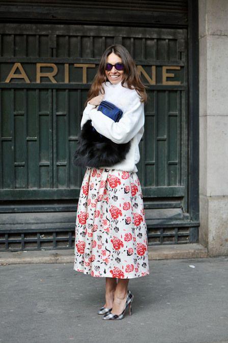 7 Ways To Wear A Full Skirt: floral full skirt